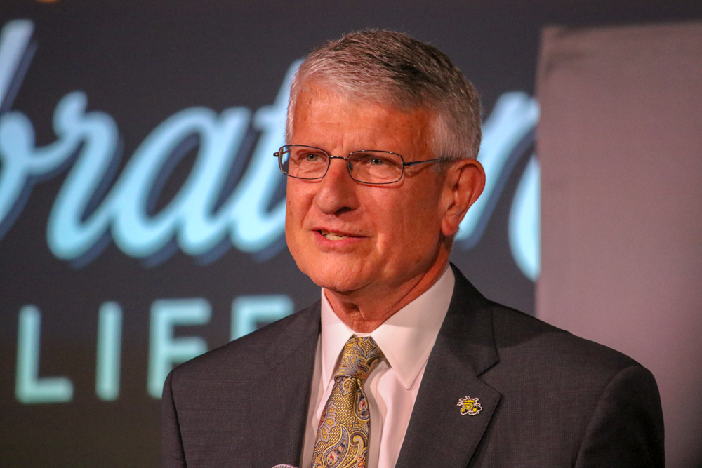 Interim President Andy Tompkins talks about the future of Wichita State and the presidential search at the Celebration of Life event for late President John Bardo.