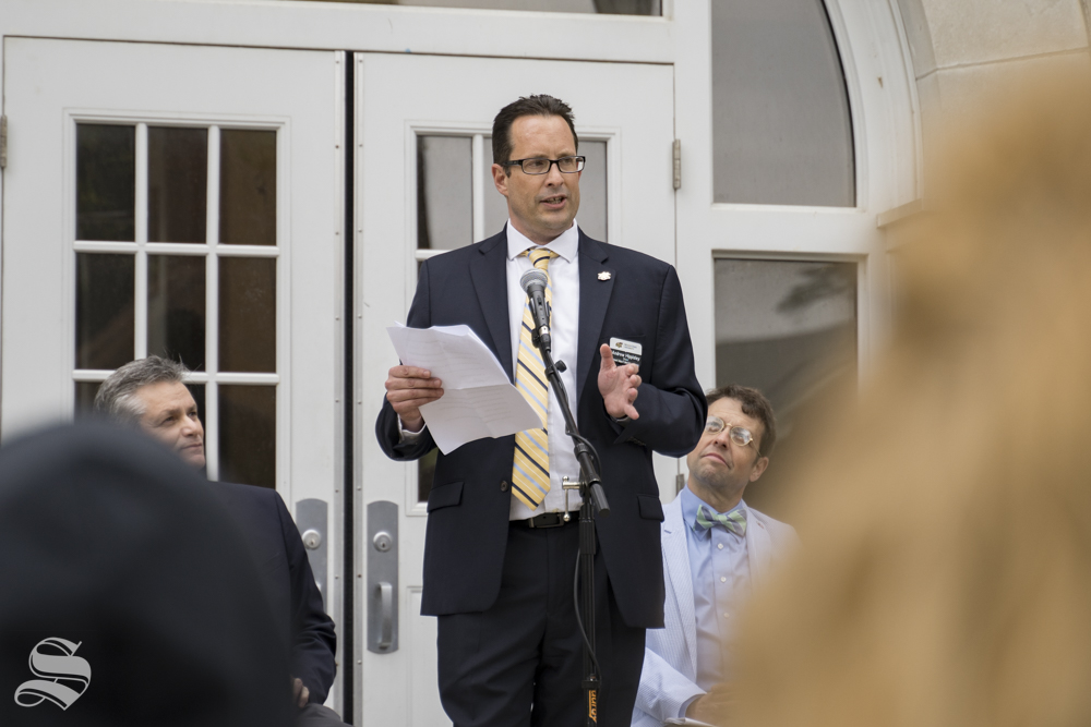 Liberal arts and sciences dean Andrew Hippisley speaks at the rededication of Fiske Hall on May 3, 2019.
