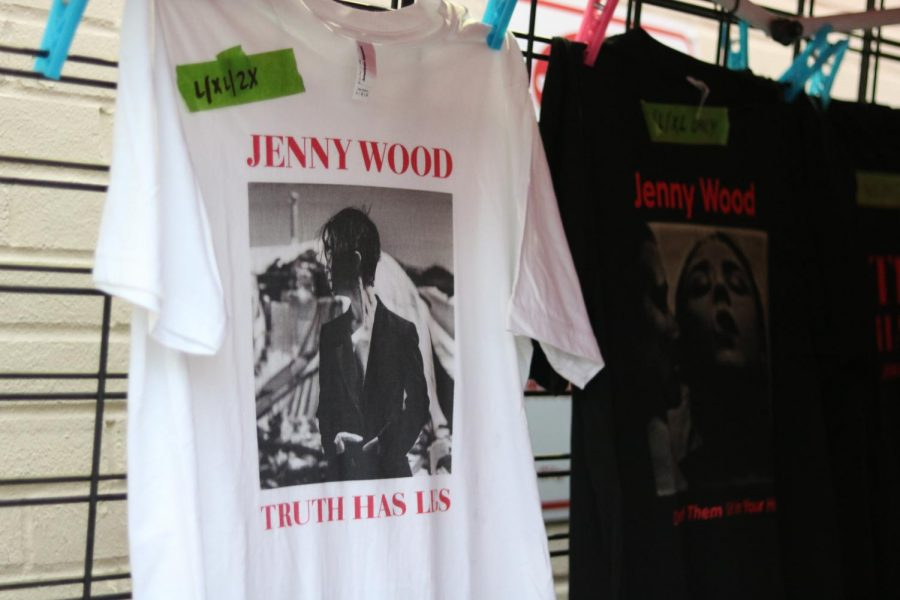 Shirts for sale during at Jenny Woodstock on Saturday, May 25 at The Back Beat. All proceeds from the event are going directly to Jenny Wood and her family.