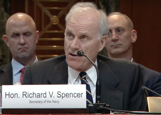 Secretary of the Navy Richard Spencer speaks about the Navys partnership with Wichita State Wednesday before the Senate Appropriations Subcommittee on Defense.