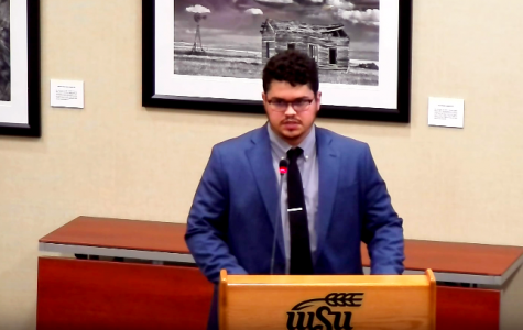 Screenshot of the May 1 meeting while Dylan Jensen was speaking to senators on his nomination to be the Student Government treasurer.