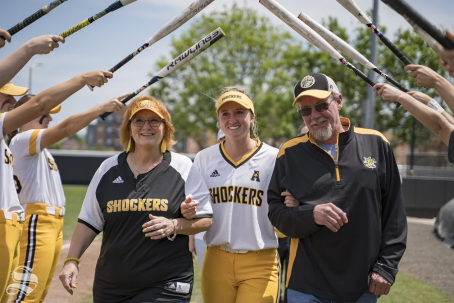 Wichita+State+senior+Laurie+Derrico+with+her+family+at+the+senior+ceremony+after+the+game+against+USF+at+Wilkins+Stadium+on+May+5%2C+2019.