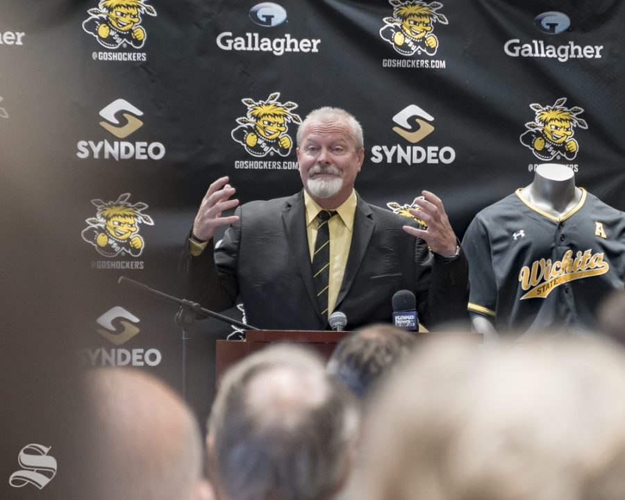 Wichita+State%27s+new+baseball+coach+Eric+Wedge+pledged+during+his+introductory+speech+to+push+the+program+back+to+its+winning+ways.+The+introductory+press+conference+was+held+on+June+4+at+Marcus+Welcome+Center.