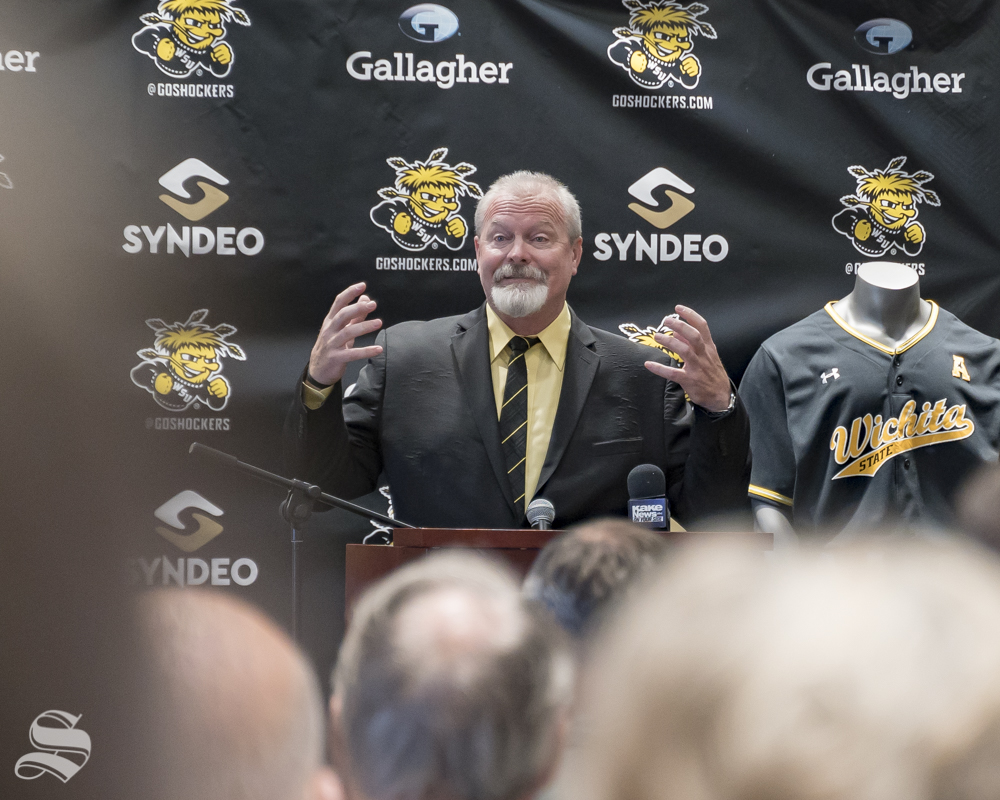Wichita State's new baseball coach Eric Wedge pledged during his introductory speech to push the program back to its winning ways. The introductory press conference was held on June 4 at Marcus Welcome Center.