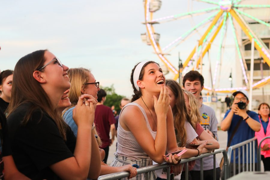 Fans watch Old News perform at Riverfest on Thursday, June 6.