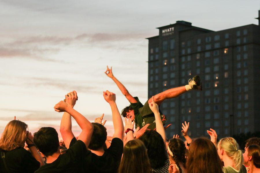 A fan crowd-surfs during The Cavves at Riverfest on Thursday, June 6.