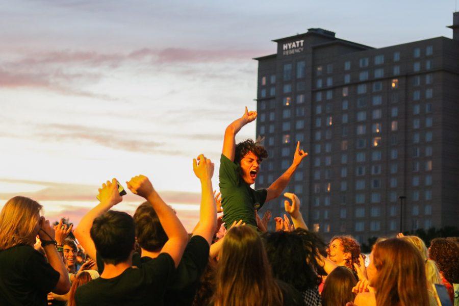 A fan crowd-surfs during The Cavves set at Riverfest on Thursday, June 6.