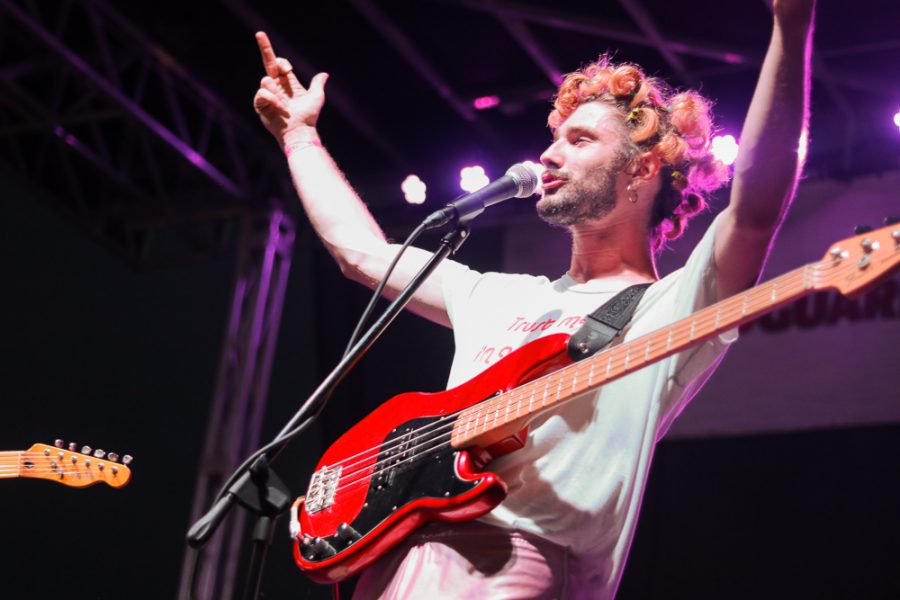Troy Toon throws his middle fingers in the air at Riverfest on Thursday, June 6.
