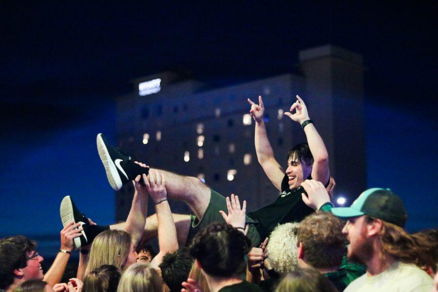 A fan crowd-surfs during Kill Vargas set at Riverfest on Thursday, June 6.