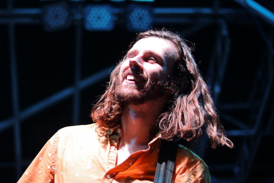 Austin Engler of Kill Vargas smiles during their set at Riverfest on Thursday, June 6.