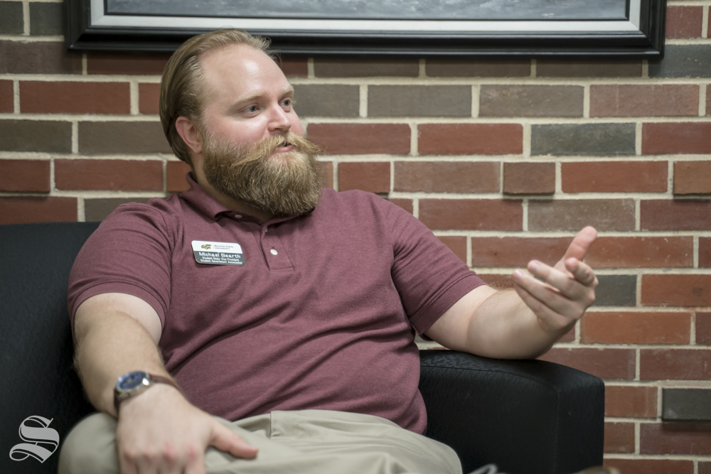 Student Body Vice President Michael Bearth talks to The Sunflower about his goals for the association during the summer. Bearth will serve as acting student body president while Kitrina Miller is out of the country.