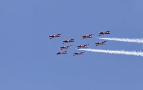 Canadian Forces Snowbirds fly in formation over NASA's Kennedy Space Center in Florida during a practice flight on May 9, 2018, between their scheduled U.S. air shows.