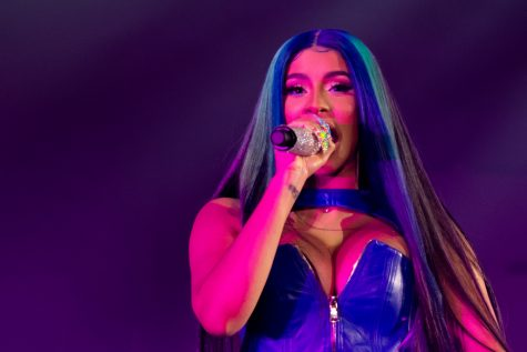 Cardi B performs a song on July 24 during her Wichita debut at INTRUST Bank Arena. The artist had trouble breathing a few songs into her set, but she continued the show after a quick wardrobe change.