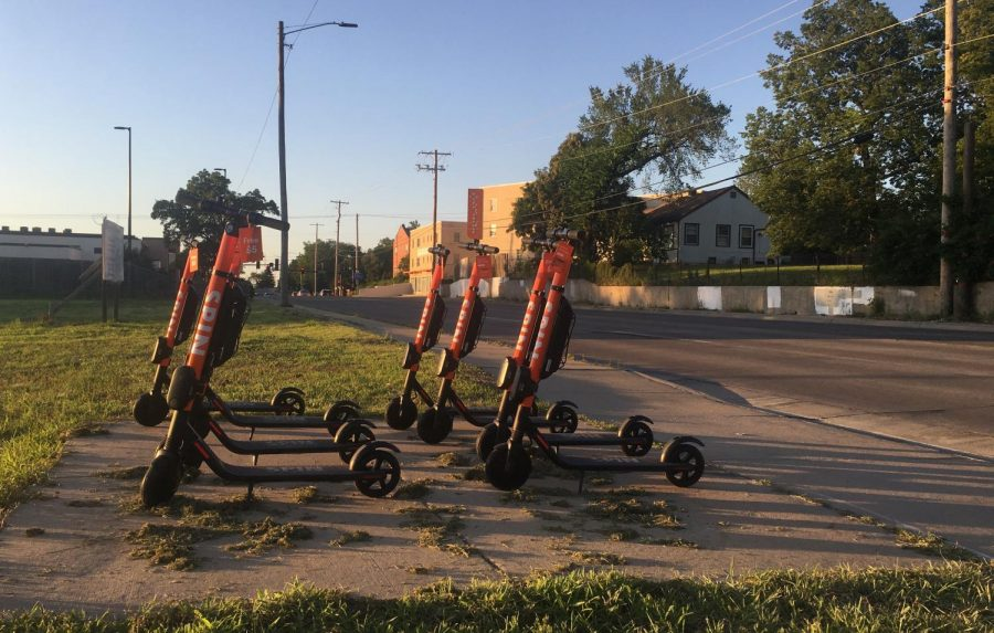 A+fleet+of+e-scooters+sit+in+an+empty+lot+at+17th+and+Hillside+near+Wichita+State%27s+main+campus.+E-scooters+are+currently+not+allowed+on+campus.