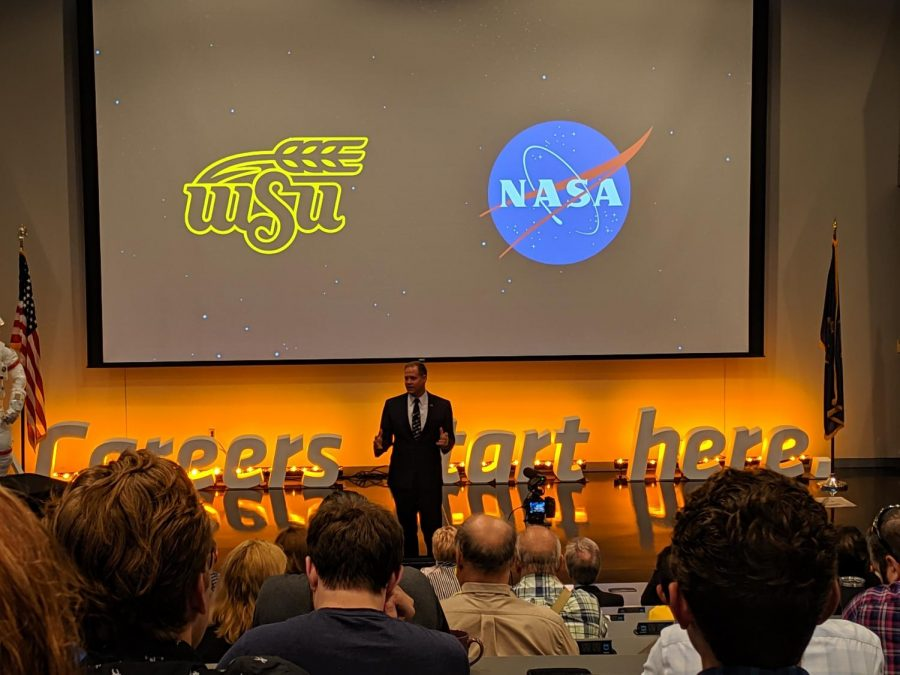 NASA+Administrator+Jim+Bridenstine+speaks+at+the+National+Institute+for+Aviation+Research+Monday.+Bridenstine+emphasized+%E2%80%9Curban+air+mobility%E2%80%9D+during+his+address.