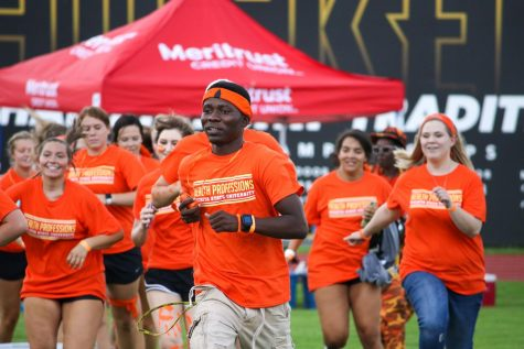 College of Health Professions students charge the field during the Clash of the Colleges on Aug. 23, 2019 at Cessna Stadium. The university is in the process of selecting the college