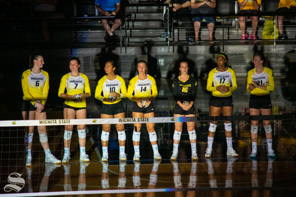 Shocker's starting lineup prepares for their first set against Kansas University on Aug. 17 in Charles Koch Arena.