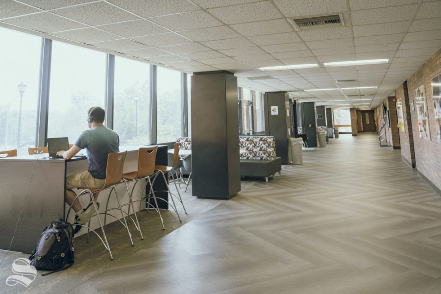 The lobby of Ahlberg Hall leading into Student Health Services.