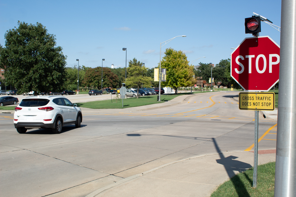 This stop sign is one of two that have recently been installed at Perimeter Road and Memorial Drive. WSUPD is making several traffic stops per day at the intersection.