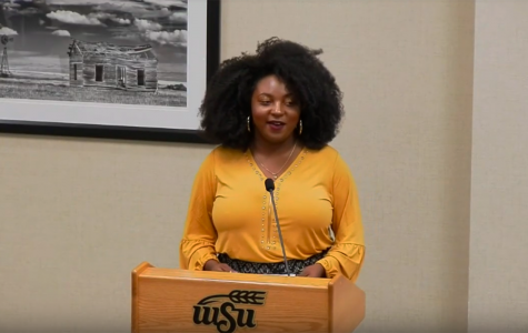 Star Billingsley, co-founder and president of the Black Academic Honor Society, speaks at the Wednesday 21 SGA meeting. Her group was one of four seeking RSO status.