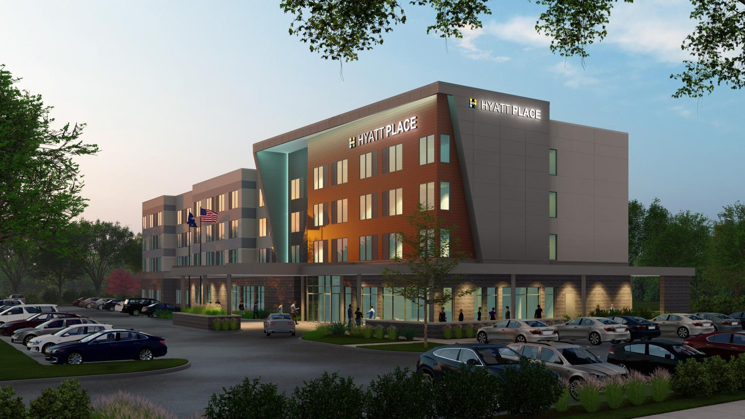 Rendering of the Hyatt Place hotel, set to be built on Innovation Campus.