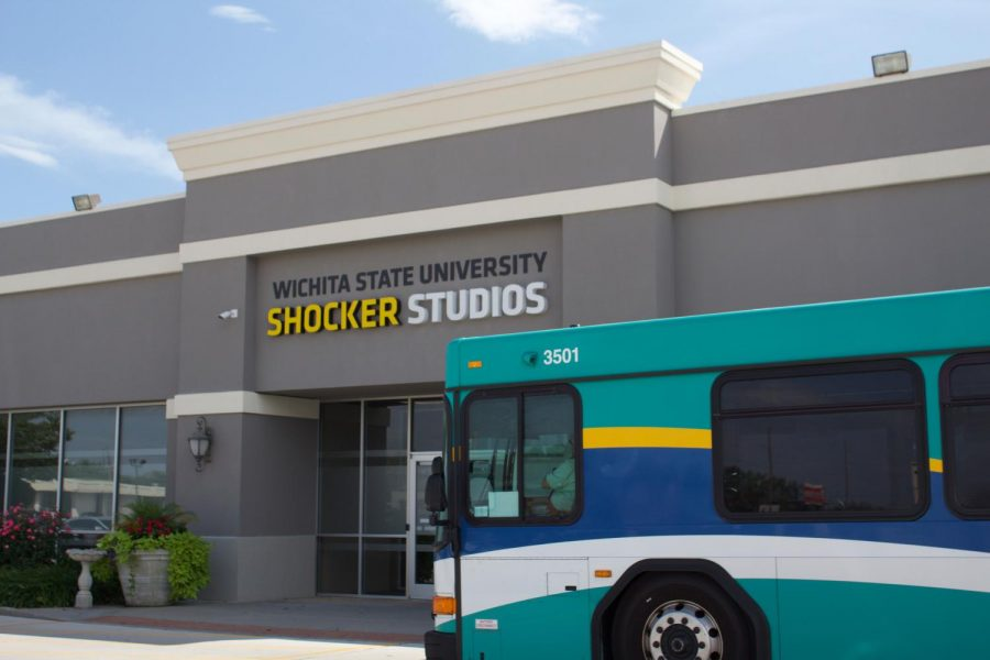 The free shuttle arrives at Shocker Studios. The shuttle leaves WSU main campus at the bottom of every hour from the Elliot Hall shuttle stop.