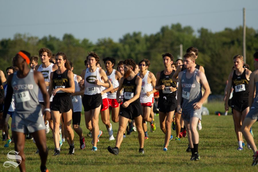 Race participants line up for the start of one of the cross country races on Sept. 7 at 4 Mile Creek Resort.