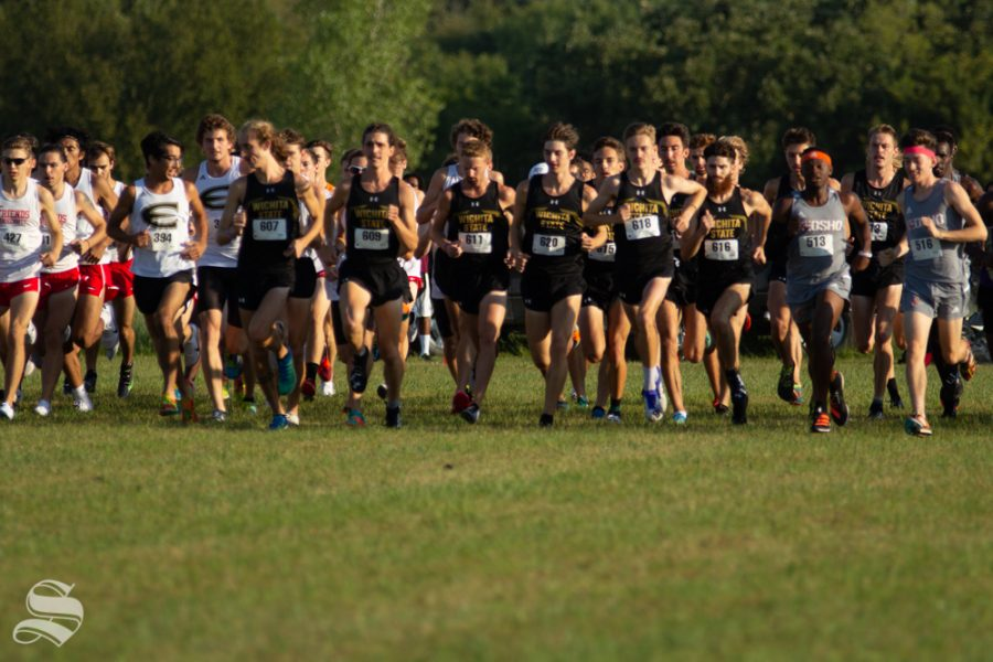 Wichita+State+men%27s+cross+country+team+begins+their+race+with+competators+on+Sept.+7+at+4+Mile+Creek+Resort.