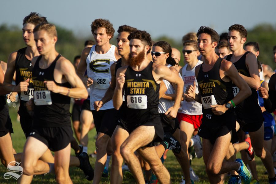 Wichita+State+junior+Alex+Moen+charges+forward+with+other+Wichita+State+cross+country+members+on+Sept.+7+at+4+Mile+Creek+Resort.