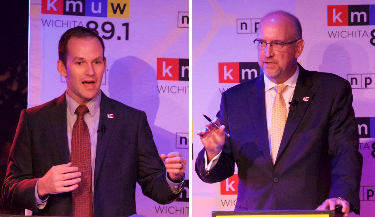 State Rep. Brandon Whipple, an adjunct professor at Wichita State, and Mayor Jeff Longwell speak Tuesday during KMUW's mayoral debate. The two will square off for mayor of Wichita in the Nov. 5 general election.