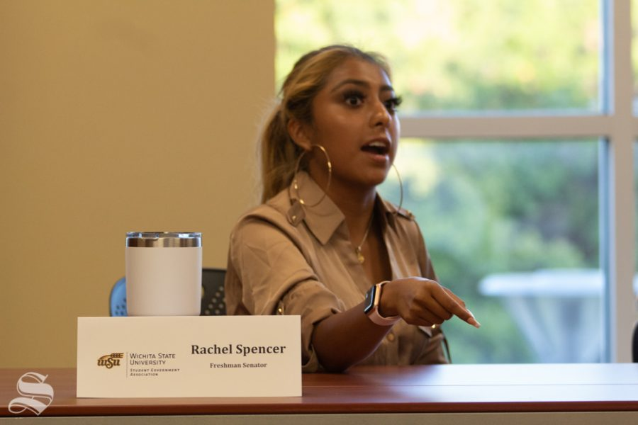 Freshman Sen. Rachel Spencer speaks during discussion Wednesday at the SGA Diversity, Empowerment and Inclusion Committee meeting. She and other committee members began drafting legislation to condemn a bias incident that occured Saturday.