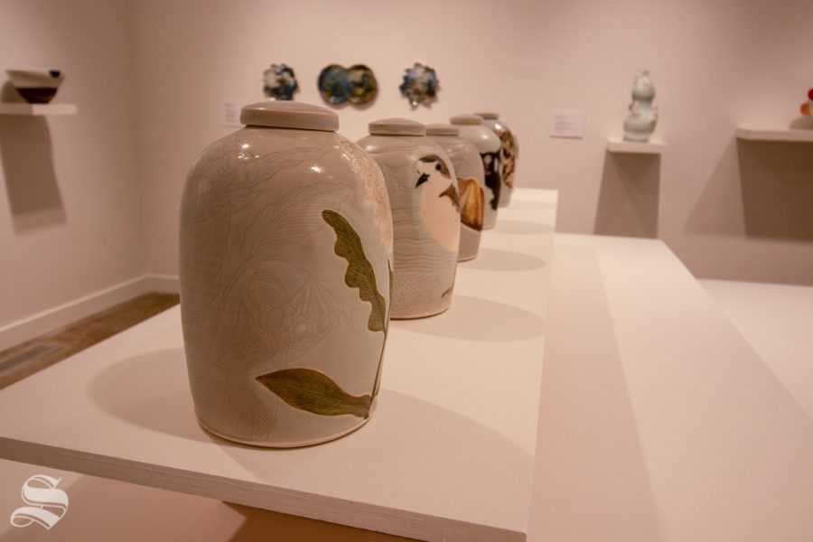 Ceramic jars are among many other artworks on display at the Ulrich Museums Fall opening event on Sept. 12.