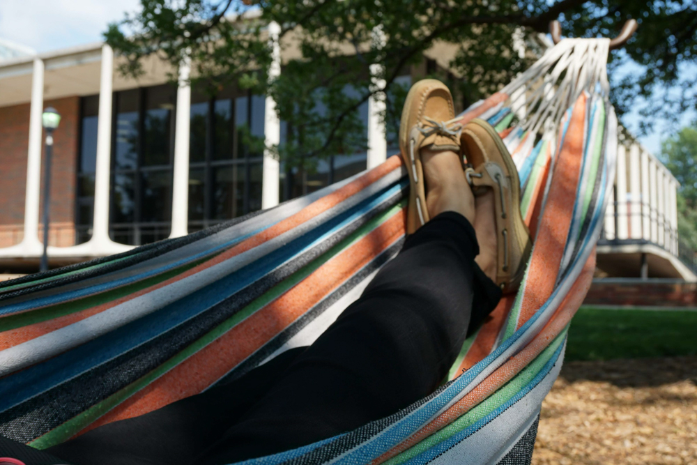 Senior Essence Dickinson, majoring in political science, lounges after her afternoon class.