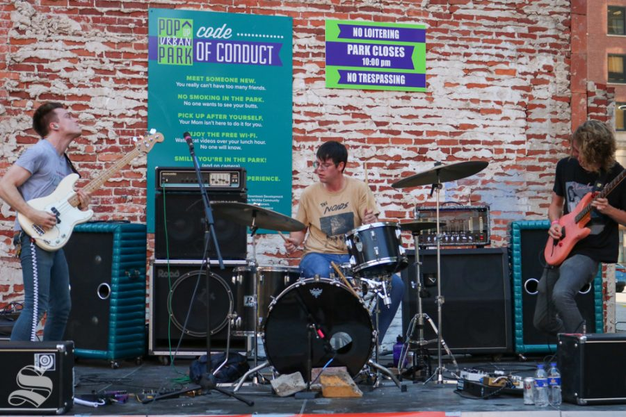 From left to right: Cade Bundrick, Miles DeBruin, Donovan Ford. BHBK performs during the evening portion of Fridays ICT Fest.