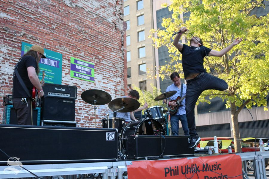 Born Snapped plays for the crowd at ICT Fest as vocalist Alex Atchley jumps and moves erradicly on stage.