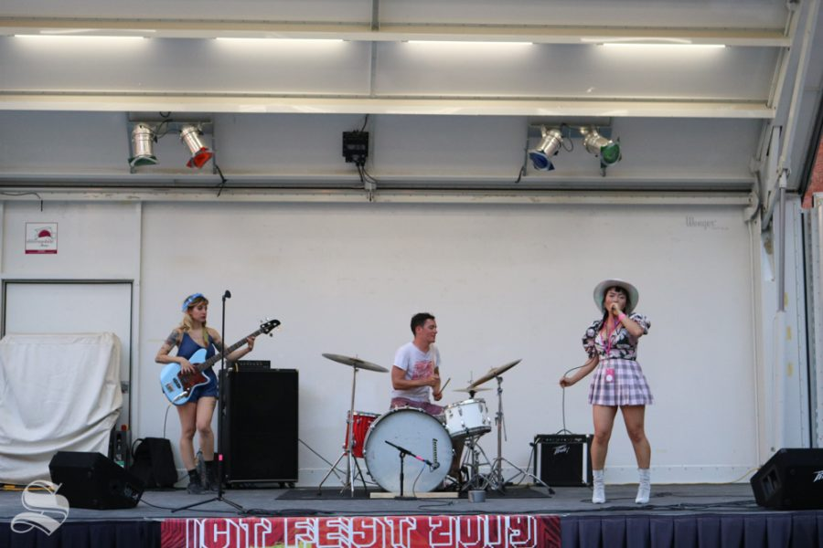 The band Concubine plays for the crowd at Saturdays ICT Fest. Concubine is the band consisting of ICT Fests hosts Matt Clay and Teresa Nguyen and their bassist Chelsea Monet.