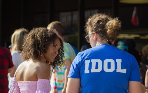 Charity Bush, a WSU senior, asks one of the American Idol staffers a question before her audition in Wichita in September 2019. She hoped her regular vocal performances at her Wichita church would give her an edge over the competition. Though she wasn't chosen to move to the next round, she said the experience was awesome.