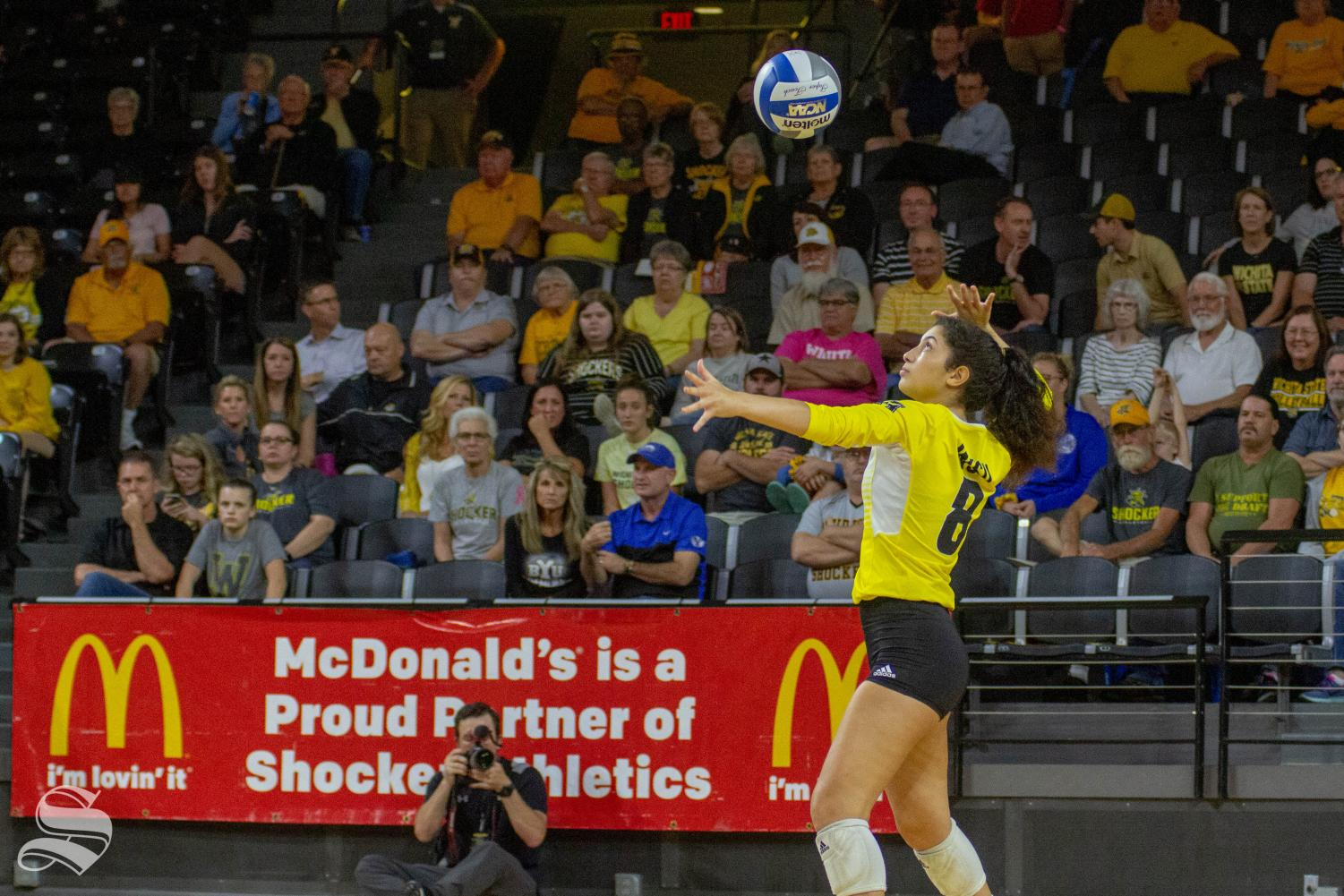 Wichita+State+freshman+Arianna+Arjomand+serves+the+ball+during+the+Shockers%27+home+opener+against+BYU.