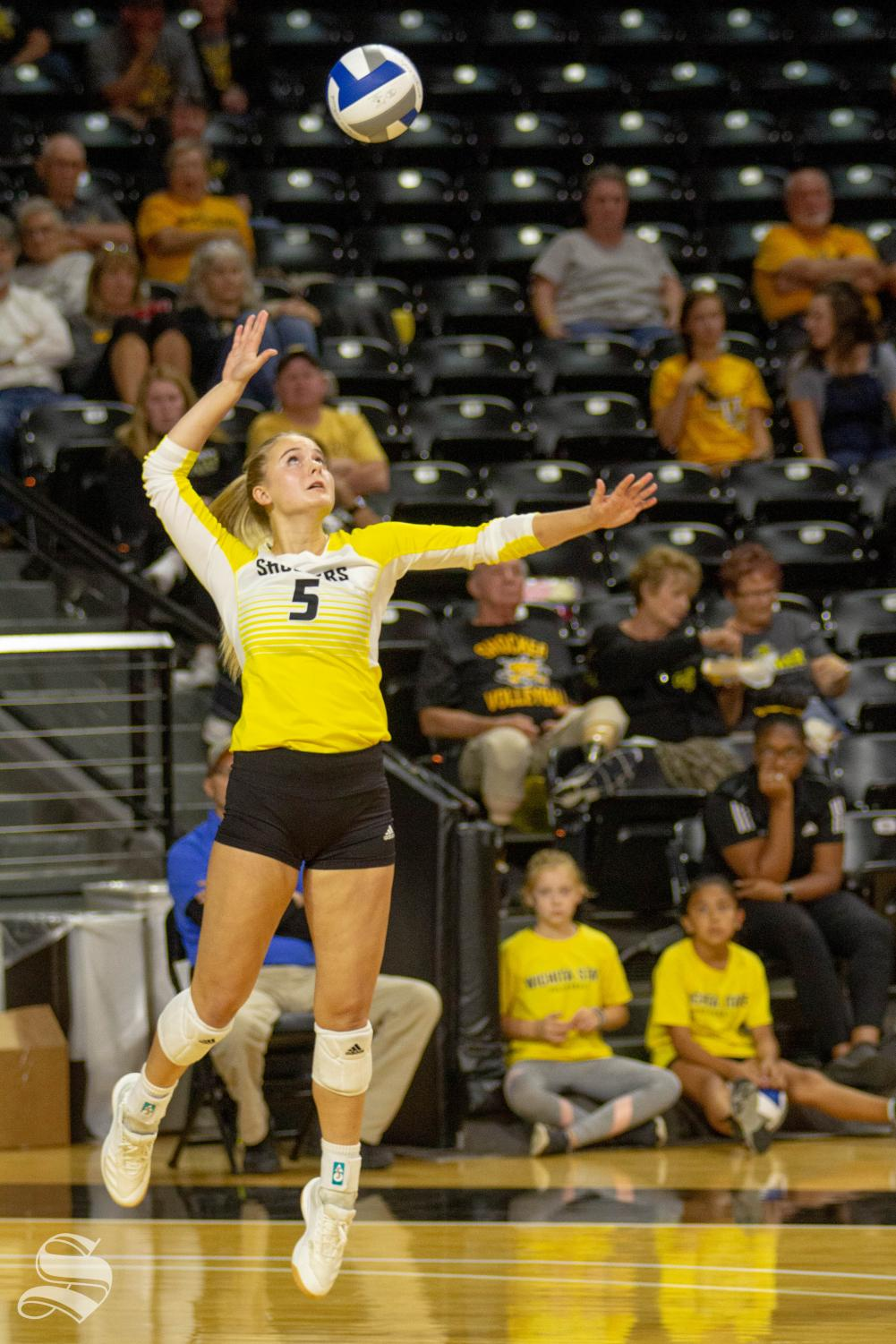 Wichita+State+freshman+Kayce+Litzau+serves+the+ball+during+the+Shockers%27+home+opener+against+BYU.