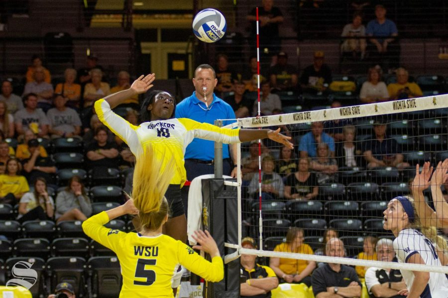 Wichita State redshirt freshman Chinelo Ogogor goes up for a kill against BYU.