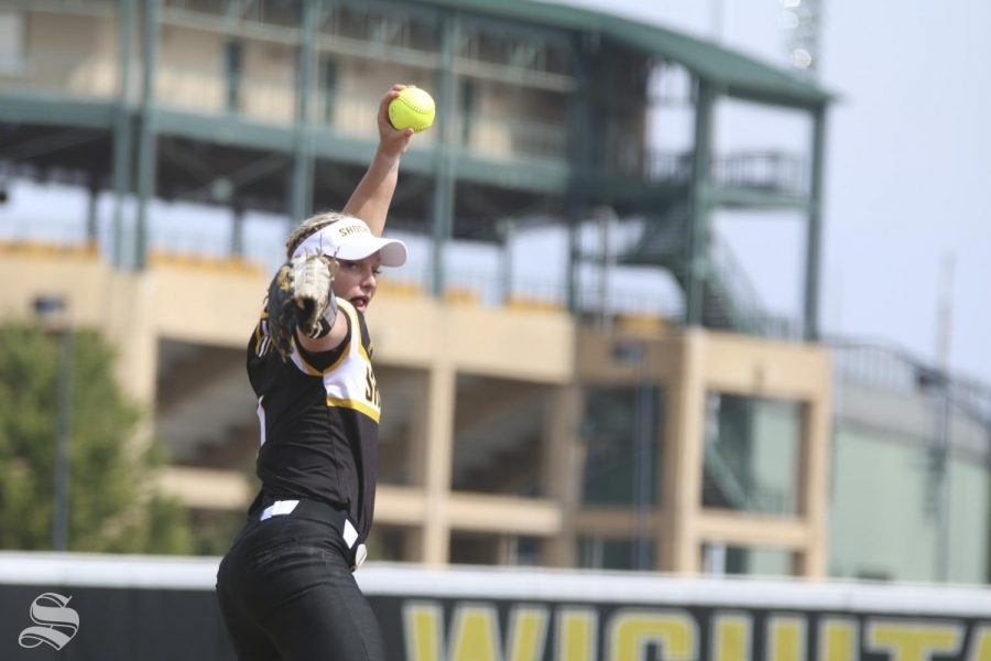 Wichita+State%27s+Bailey+Lange+delivers+a+pitch+against+UCO+during+their+scrimmage+held+at+Wilkins+Stadium+on+Saturday%2C+Sept.+28%2C+2019.