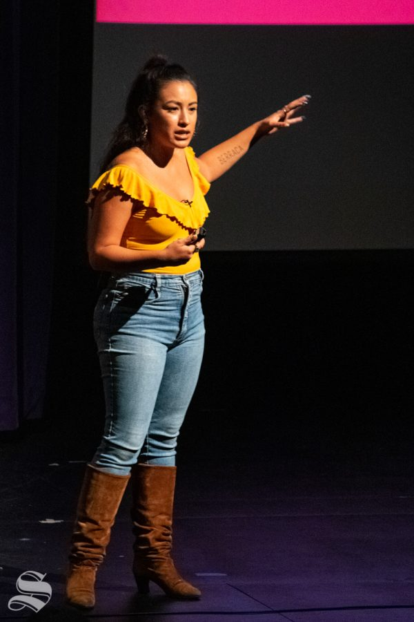 Kat+Lazo+speaks+to+a+crowd+about+the+discrimination+and+privilege+of+and+within+the+Latinx+community+during+the+Take+the+Lead+Reception+on+Sept.+19+at+the+CAC+Theater.+Lazou+is+most+known+for+her+work+as+a+video+producer+for+the+digital+platform+mit%C3%BA.