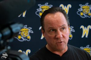 Wichita State men's basketball coach Gregg Marshall responds to a question during a press event before the team's first practice of the season on Sept. 24, 2019 at the south Koch Arena Concourse.