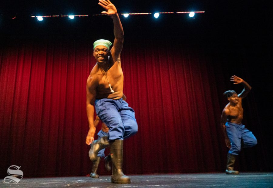 Members of Step Afrika! performing the African Gumboot dance. This is considered one of steppings biggest influence.