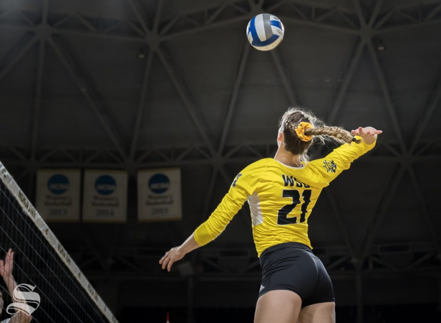 Wichita+State+redshirt+sophomore+Megan+Taflinger+goes+up+for+a+kill+during+the+game+against+BYU.