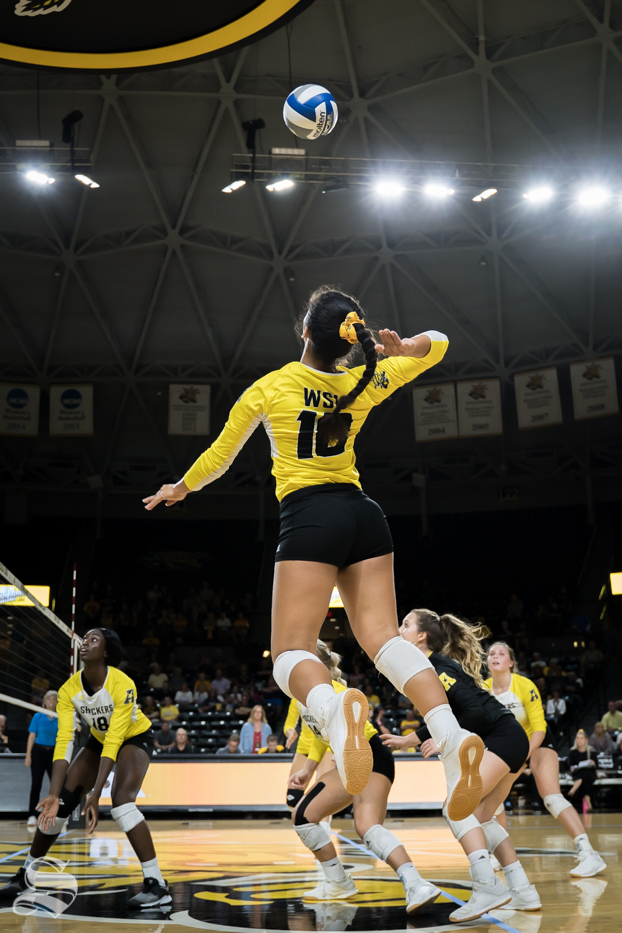 Wichita+State+freshman+Sina+Uluave+goes+up+for+a+kill+during+the+game+against+BYU+at+Koch+Arena.