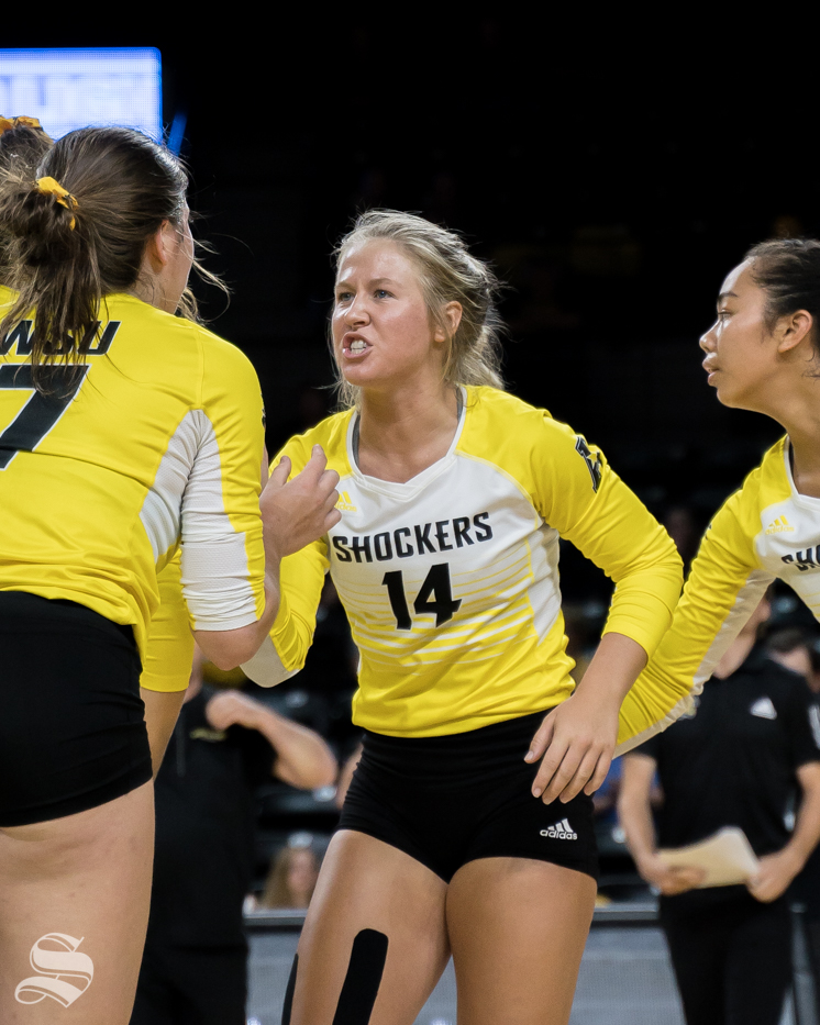 Wichita+State+junior+Mckayla+Wuensch+gets+hyped+after+the+team+scores+on+BYU.+The+game+was+held+at+Koch+Area.