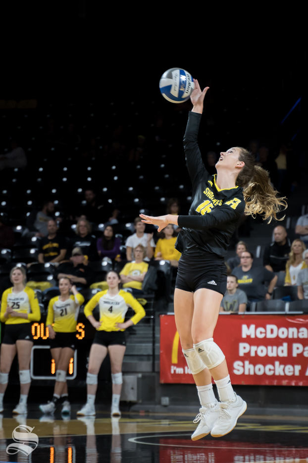 Wichita+State+senior+Kara+Bown+sets+the+ball+during+the+game+against+BYU.