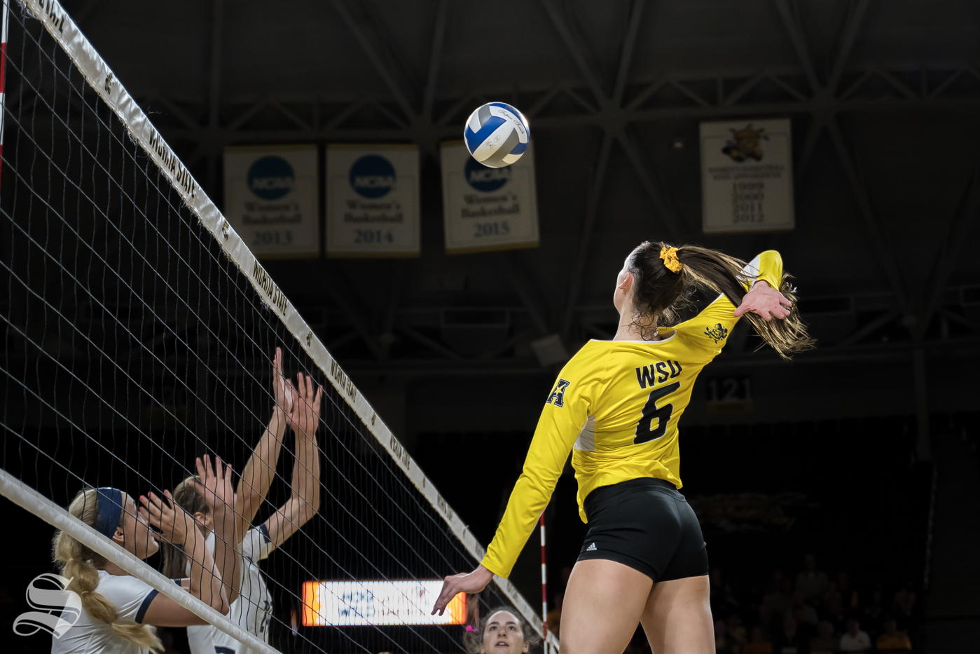 Wichita+State+junior+Emma+Wright+goes+up+for+a+kill+during+the+game+against+BYU.