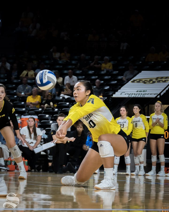Wichita+State+freshman+Sina+Uluave+digs+a+ball+during+the+game+against+BYU+on+September+12%2C+2019+at+Koch+Arena.
